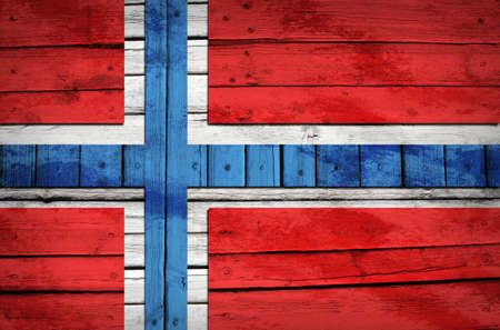 Norwegian flag painted on wooden boards  Grunge style photo