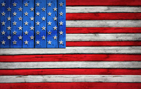 u s  flag: U S  flag painted on wooden boards  Grunge style