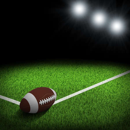 Night football arena illuminated by spotlights  Ball in the corner of field  Sports background photo