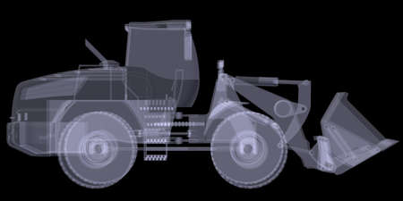 Wheel loader  X-ray render isolated on black background
