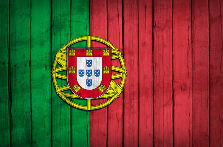 Portugal flag painted on wooden boards  Grunge style photo