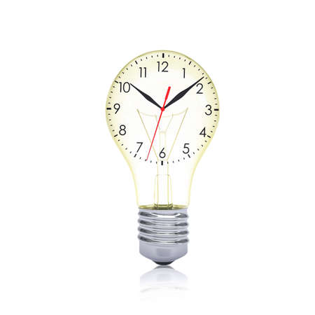 hour glass figure: Clock face inside the bulb  Time concept