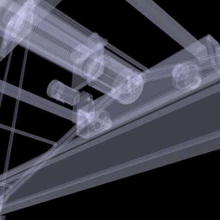 hijsen: Elektrische takel X-ray te maken op de zwarte achtergrond Stockfoto