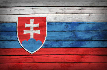 slovak: Slovak flag painted on wooden boards  Grunge style