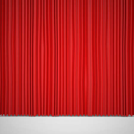 red cloth: Closed red curtain lit Spotlight  Three-dimensional render