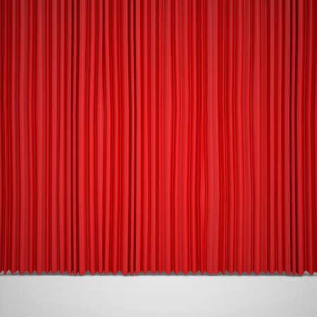rot: Geschlossen rote Vorhang leuchtet Spotlight dreidimensionale Render Lizenzfreie Bilder
