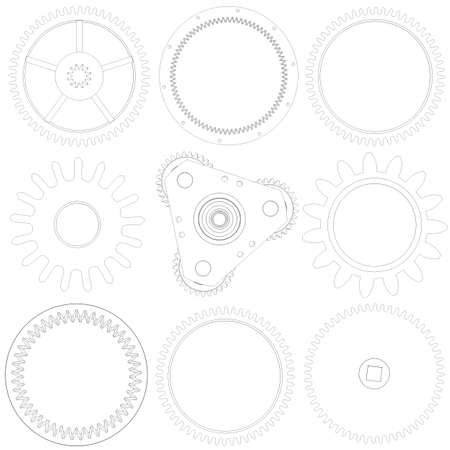 Collection of gears  Wire frame isolated render on white background photo