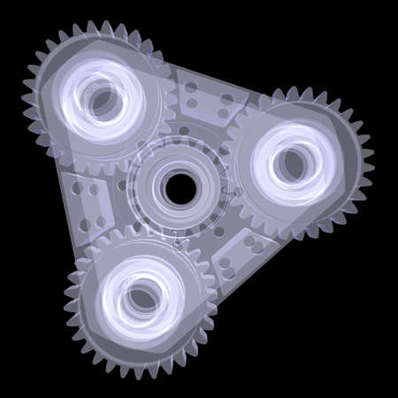 Mechanism with gears  X-ray render isolated on black background photo
