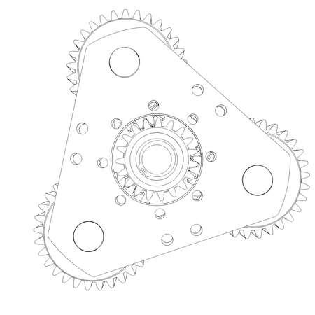 Mechanism with gears  Wire frame isolated render on white background photo