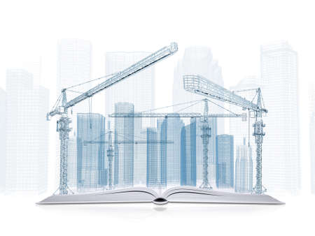 On the pages of an open book is wire frame tower crane and skyscrapers  White background photo