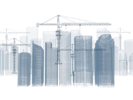 Wire frame tower crane and skyscrapers  White background photo