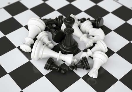 midst: Black chess king in the midst of battle  gray background Stock Photo