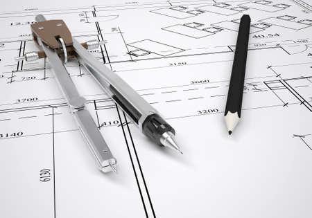 architectural drawing: Architectural drawing and engineering tools  architect concept Stock Photo