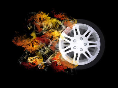 Car wheel in the colored smoke  Sport concept photo