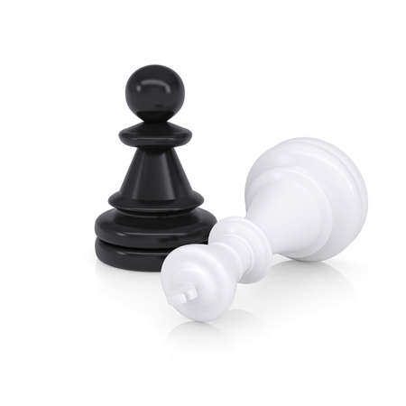 defeated: White defeated chess king is near black pawns  Isolated on background