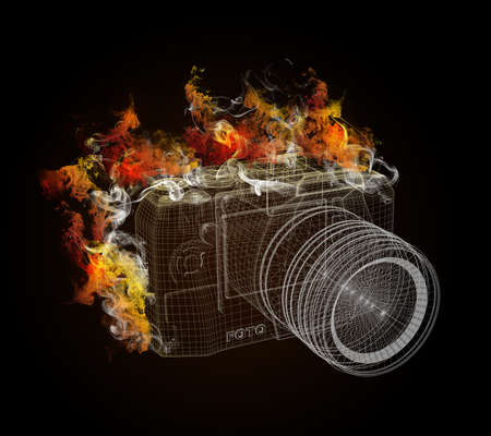Wire frame SLR camera in the colored smoke  concept electronics photo