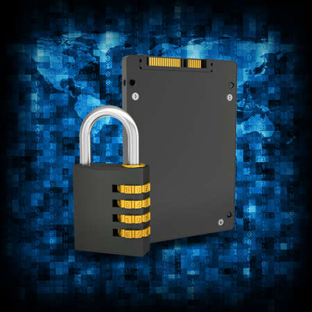 ssd: Abstract background is binary code and SSD with combination lock  Electronic concept Stock Photo