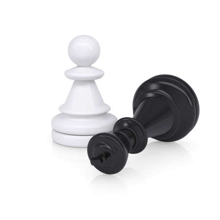 defeated: Black defeated chess king is near white pawns  Isolated on background Stock Photo
