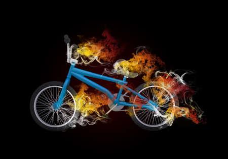 bmx bike: BMX bike in the colored smoke  Sport concept Stock Photo