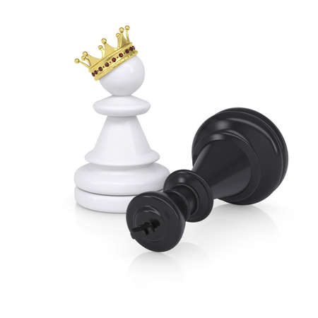 defeated: Black defeated chess king is near pawns with gold crown  Isolated on background