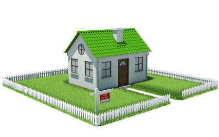 grass plot: House on plot of grass with fence  Architectural concept Stock Photo