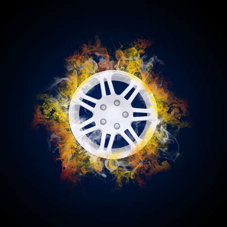 Disc from wheel in the colored smoke  Car concept photo