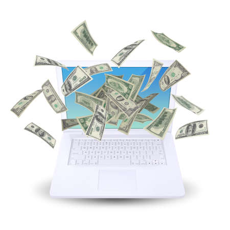 Dollar notes flying around the laptop  Isolated on white background photo