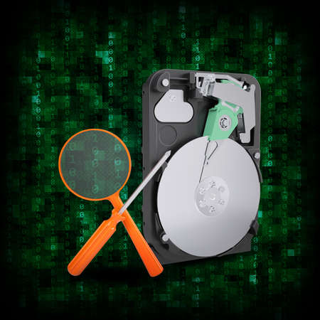 Abstract background  HDD with magnifying glass and screwdriver  Electronic concept photo