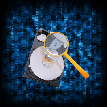 Abstract background is binary code and HDD with magnifying glass  Electronic concept photo