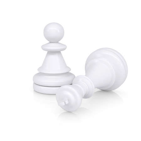 defeated: White defeated chess king is near pawns  Isolated on background