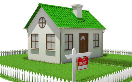 House on plot of grass with fence  Architectural concept photo