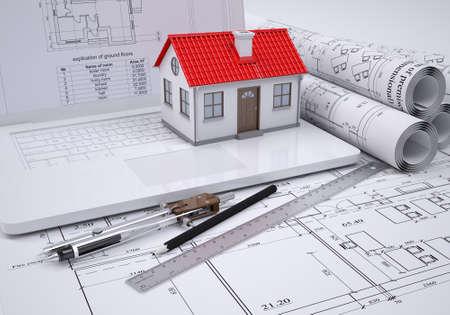 Scrolls bouwkundige tekeningen en kleine huis architect-concept