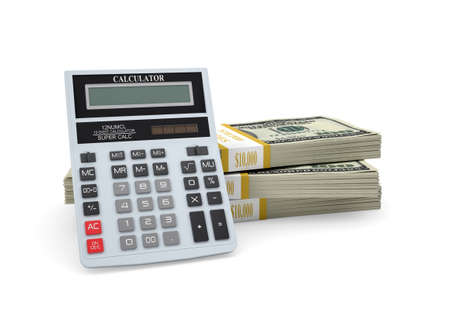 Calculator stand on pack of dollars  White background photo