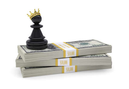 chess king: Pawn with gold crown stand on pack of dollars  White background