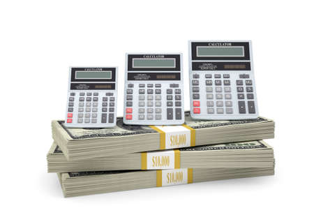 Calculators stand on pack of dollars  White background photo