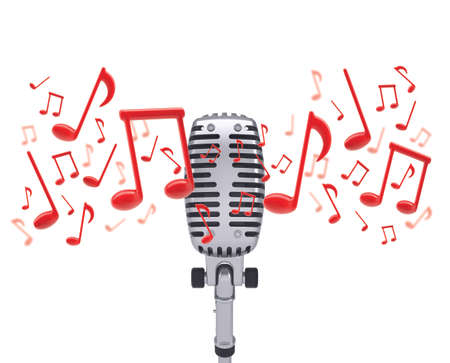 Music notes around studio microphone  Isolated white background photo