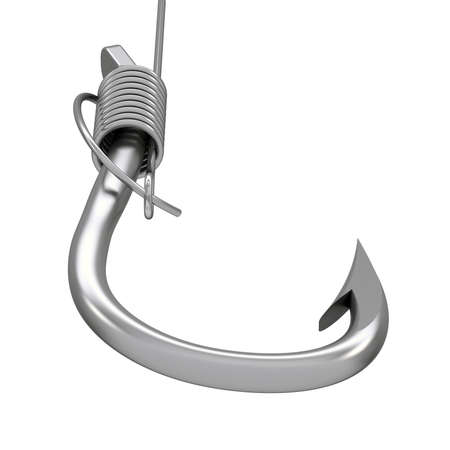 baited: Metal fishing hook and line  White background Stock Photo