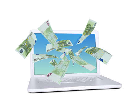Euro notes flying around the laptop  Isolated on white background photo