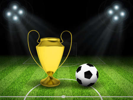 Night football arena illuminated by spotlights  Soccer ball and gold cup in the middle of field  Sports background photo