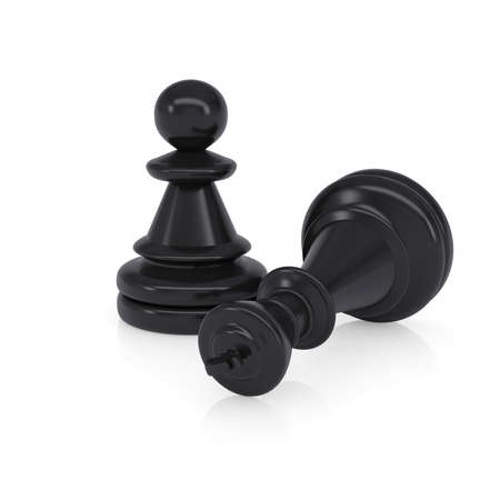 defeated: Black defeated chess king is near pawns  Isolated on background