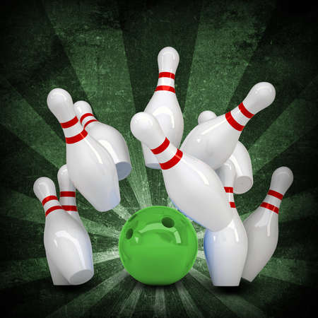 Bowling ball breaks standing pins  Sports background  Grunge style photo