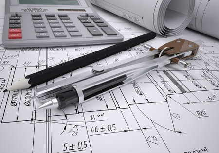 drafting table: Scrolls engineering drawings and tools  Desk Engineer Stock Photo