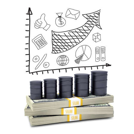 Barrels oil stand on pack of dollars  Business sketches in the background Stock Photo - 28395380