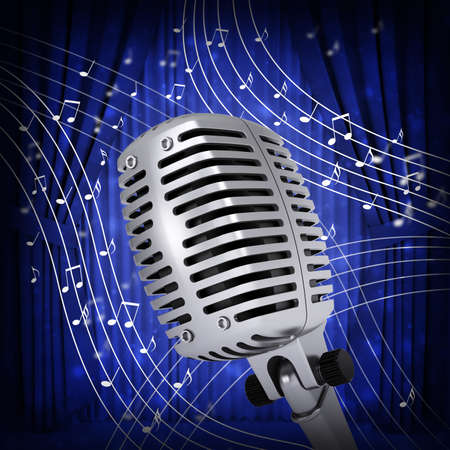 Music notes around studio microphone  Blue background photo