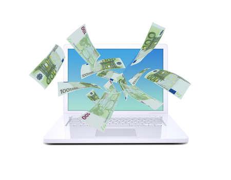 Euro notes flying around the laptop  Isolated on white background photo