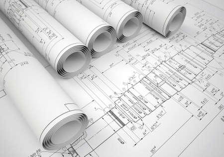 Verschillende rollen technische tekeningen op de tekening Desk Engineer Stockfoto