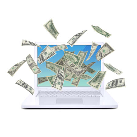 Dollar notes flying around the laptop  Isolated on white background photo