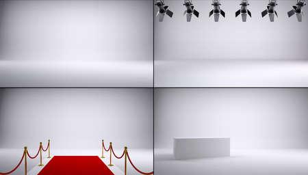 studio lighting: Collection of gray studio shots  Red carpet, box and lighting lamps
