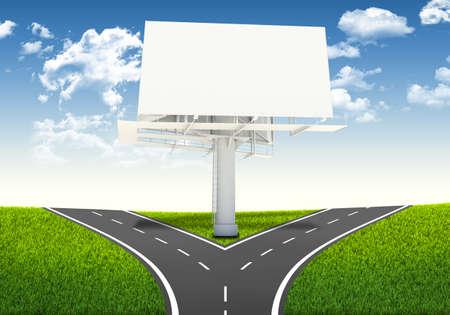 Fork in the road  Decision-making framework  Large blank billboard 写真素材