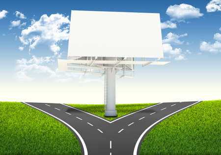 Fork in the road  Decision-making framework  Large blank billboard Stock Photo